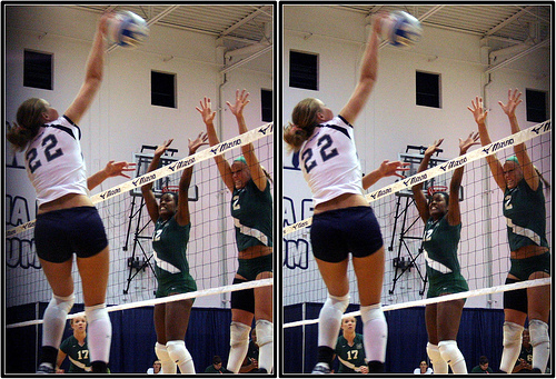 Blocking in Volleyball: Volleyball Players Watching The Hitter While They Block  Photo by Michael E. Johnston
