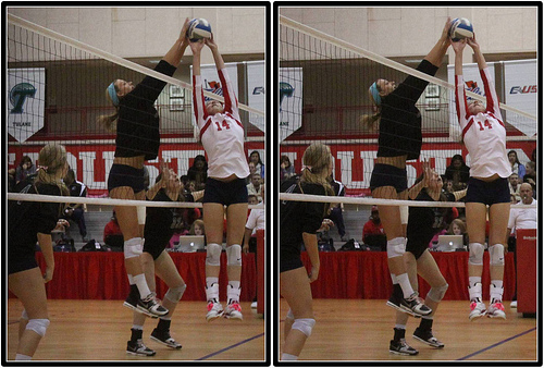 Volleyball Foul. Blocking the setter while she's setting the ball.  Photo by Michael E. Johnston
