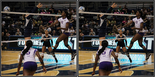 blocking in volleyball: one blocker vs one hitter  (photo Michael Johnston)