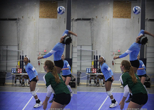 Basic Volleyball Rules: A backrow hitter can land in front of the ten foot line as long as they have contacted the ball before they land in the front row (Michael E. Johnston)