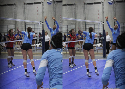 The overhead pass in volleyball is a simple strategy for passing which helps you to control the speed of the game. (ShakesKC Mark Shaiken)