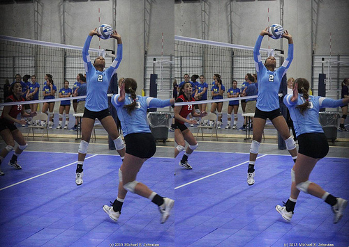 For the front set to the middle blocker your shoulders are right in front of your ears and when back setting your shoulders would be slightly behind your ears.  (photo by Michael E. Johnston)