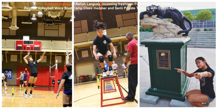 Regular Boot Camp volleyball class and Coach April semiprivate training client Aaliyah Largusa incoming freshman makes varsity at Palo Verde High School