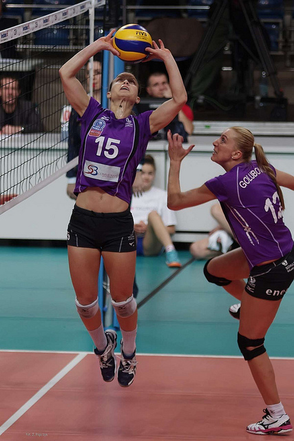 A setter in volleyball uses specific hand and body positioning to deliver a hittable ball to their attackers. (Courtney Thomson Olympian and pro volleyball player)