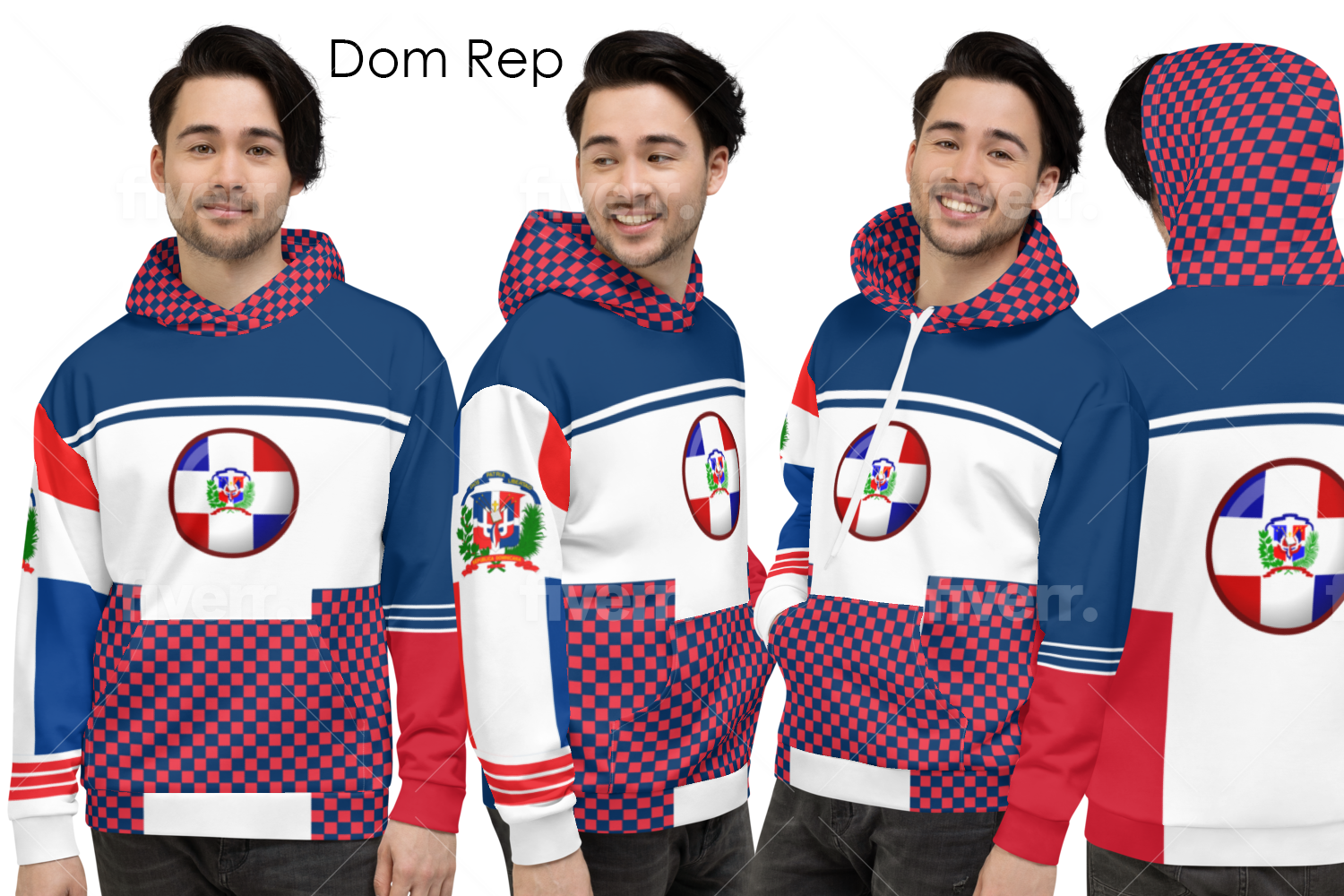 With the vibrant red and blue shades of the national flag of Dominican Republic we took the same essence and integrated them into beautiful patterns on our volleyball outfits.