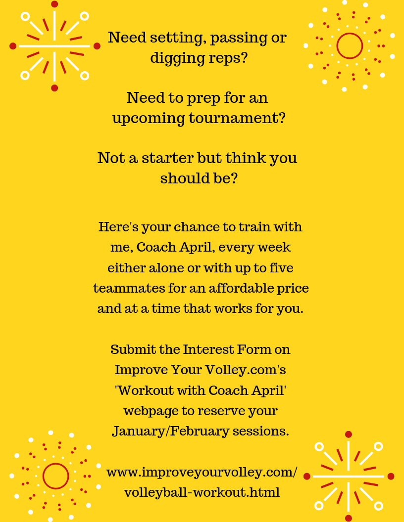 Volleyball Workout Training Flyer. Workout with coach April weekly.