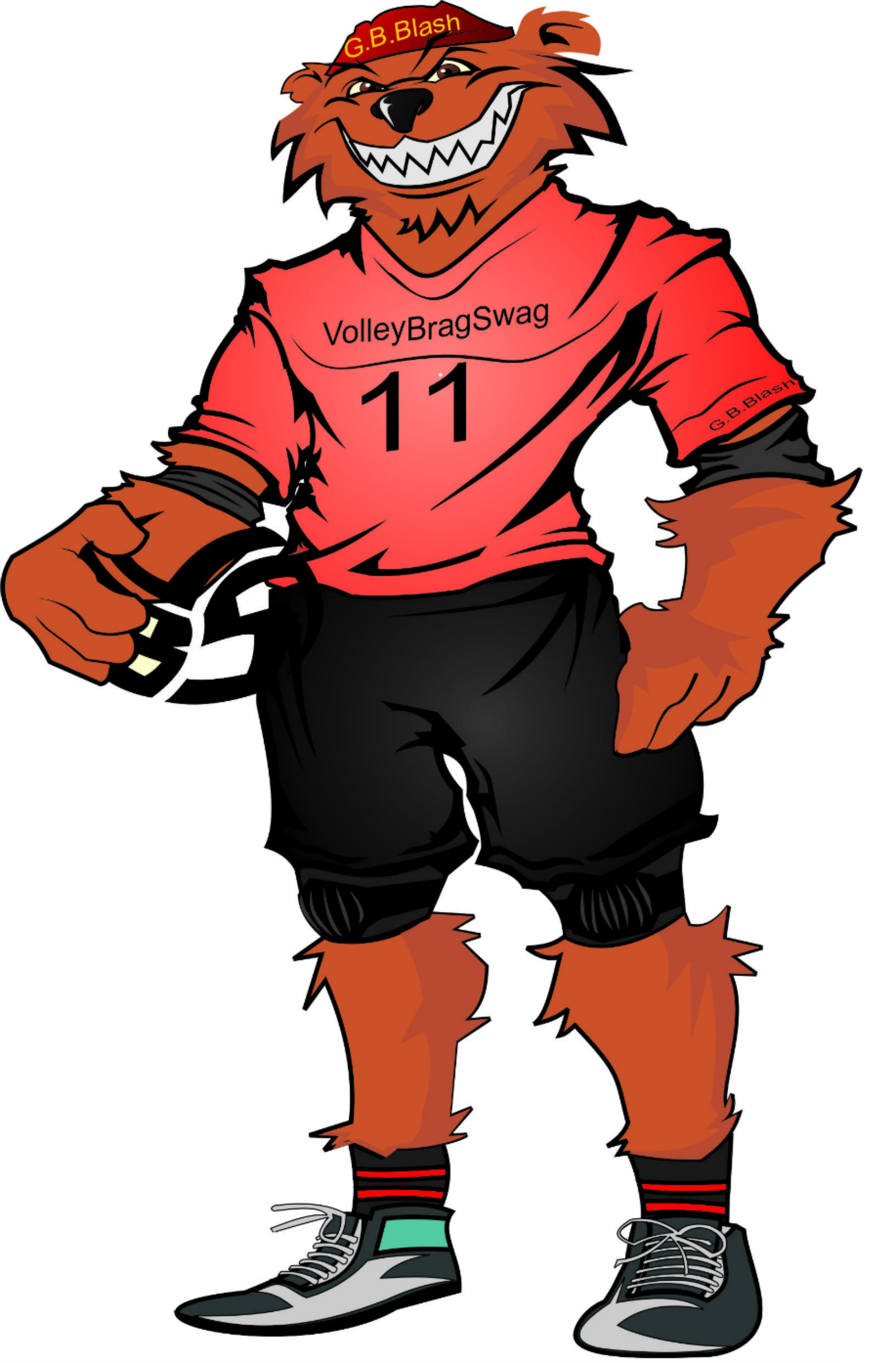 Mr G.B Blash, the Bear, wearing the #11 jersey below.