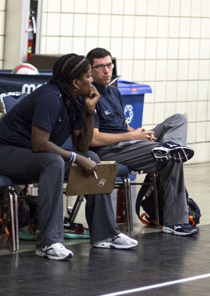 About April Chapple, Coaching at the USA High Performance Volleyball Championships, Fort Lauderdale, FL 2016.