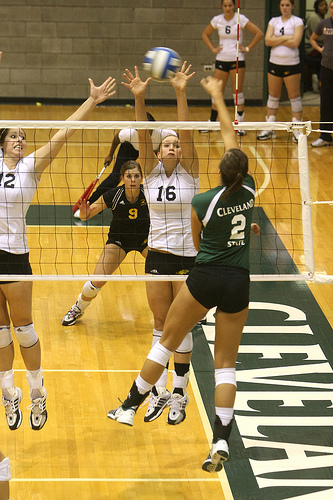 Types of Volleyball Hits- A kill is registered when a player has scored a point or a sideout by successfully attacking or hitting the ball onto the opposing team's court. (Ralph Arvesen)
