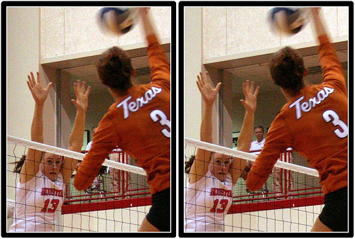 Hitter Volleyball Drills:  Practice wiping the block (photo Michael e. Johnston)