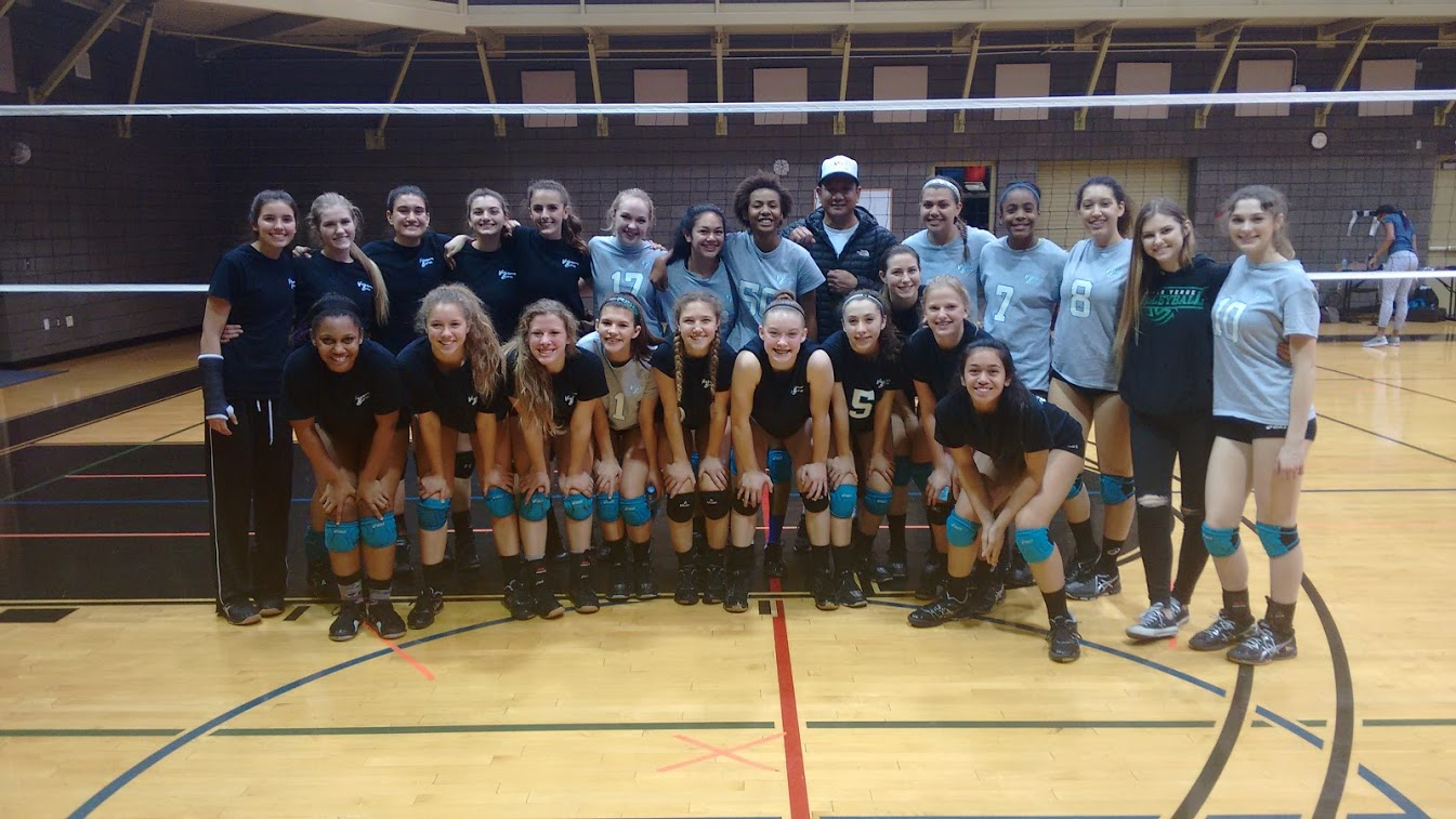 Two-time Olympic gold medalist Eric Sato, my first pepper partner ever, poses with the Volleycats Elite Club teams at Stupak Community Center.