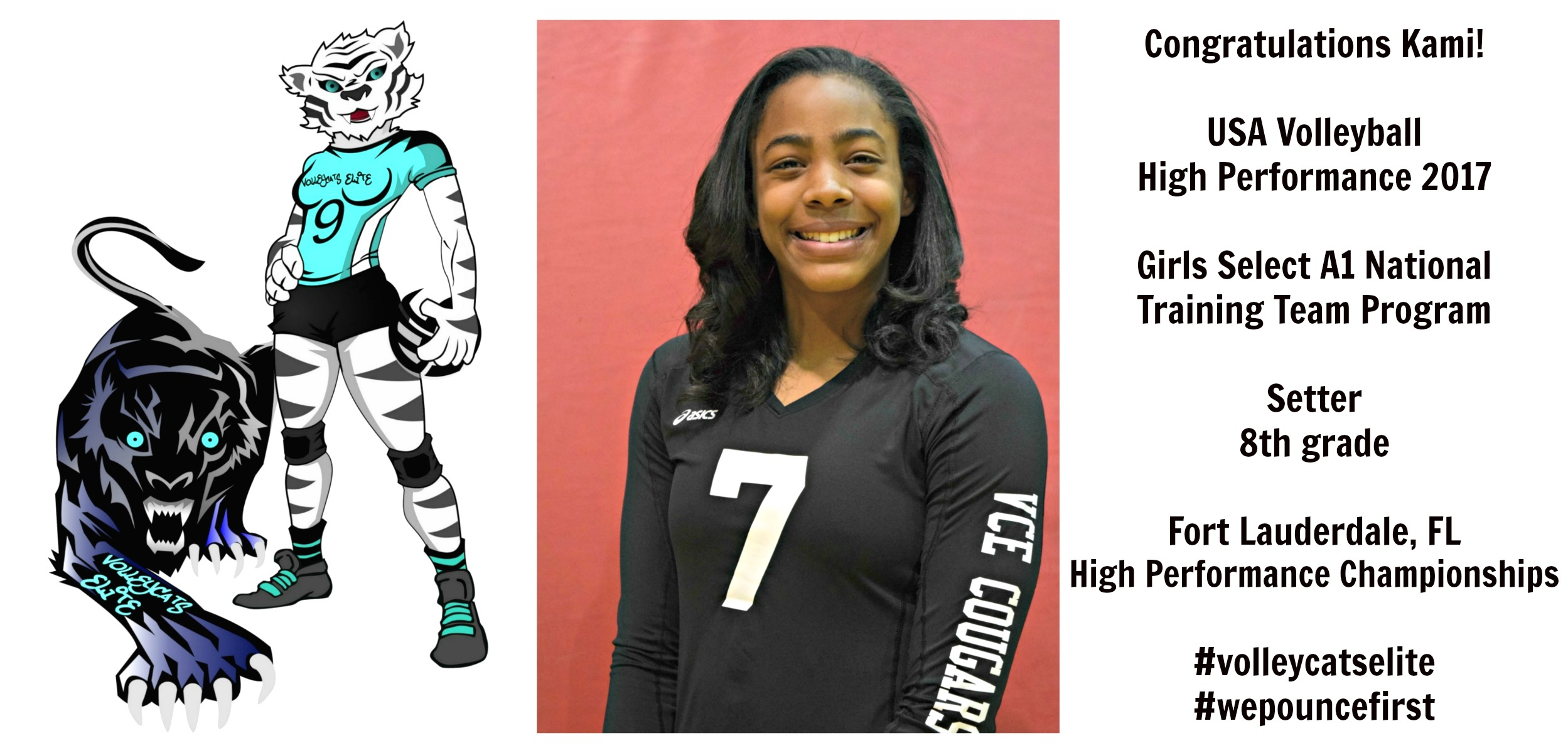 Three year semi private training client and regular Boot Camp volleyball class incoming freshman Kami Miner makes starting varsity roster at her California high school team.