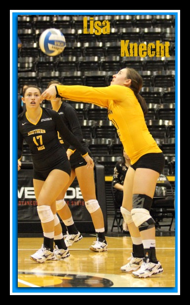 Southern Miss Lady Eagles libero Lisa Knecht in action