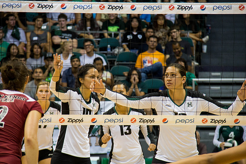 Fundamental Rules In Volleyball Defense:Hawaii Volleyball Players Calling Out The New Mexico State Hitters  Photo by Neil Abercrombie