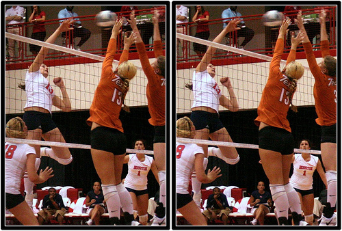 Blocker Terms Used in Volleyball: Texas blockers arms go up instead of going over the net. (Michael E. Johnston)