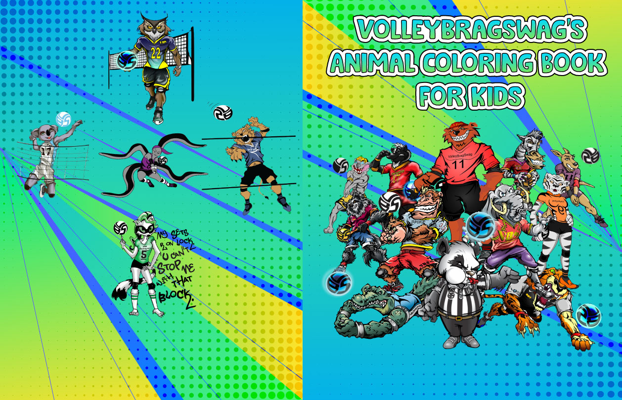 Volleybragswag Coloring Book For Kids   Over 30 animal coloring pages for kids feature the 16 Volleybragswag volleyball playing beasts.