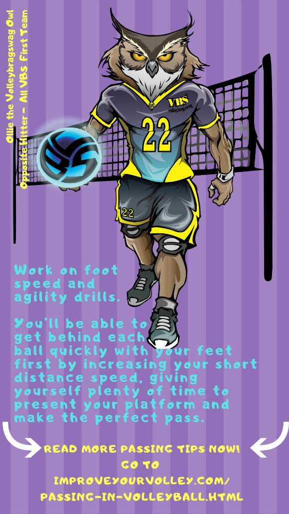 Improve Your Passing Tips: Work on speed and agility drills so you can move quickly to get to balls in serve receive.