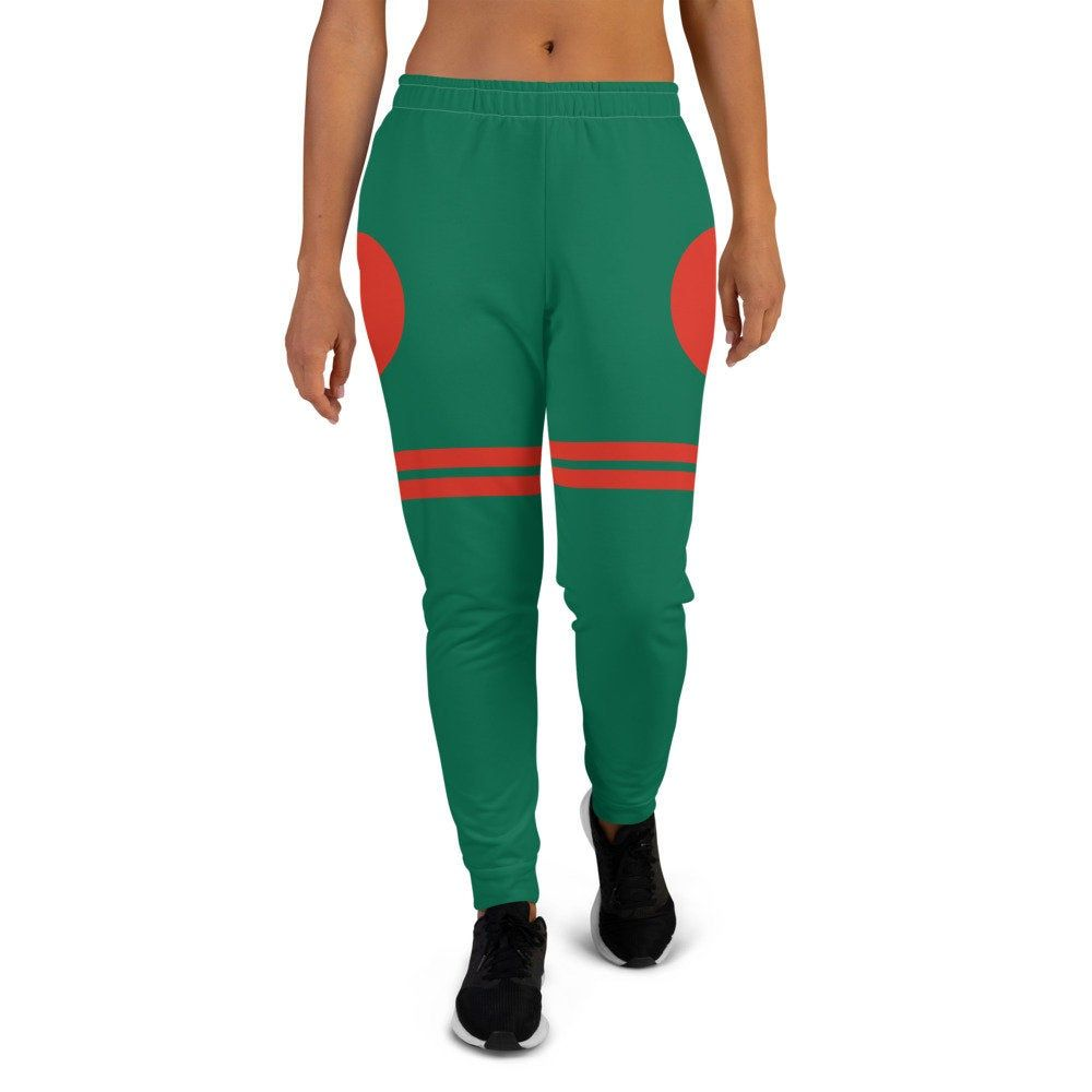 Green Jogger Sweatpants inspired by the flag of Bangladesh by Volleybragswag