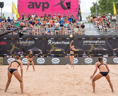 Beach volleyball passing: Line yourself up on the court so you know, where you are in relation to your partner, where the sideline is and how far the service line is behind you. (Aversen)