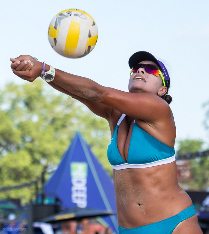 Hand Setting: On the sand using the bump set is not a cop out but is one of the most important volleyball skills that almost all beach players use to control the ball. (Ralph Aversen)