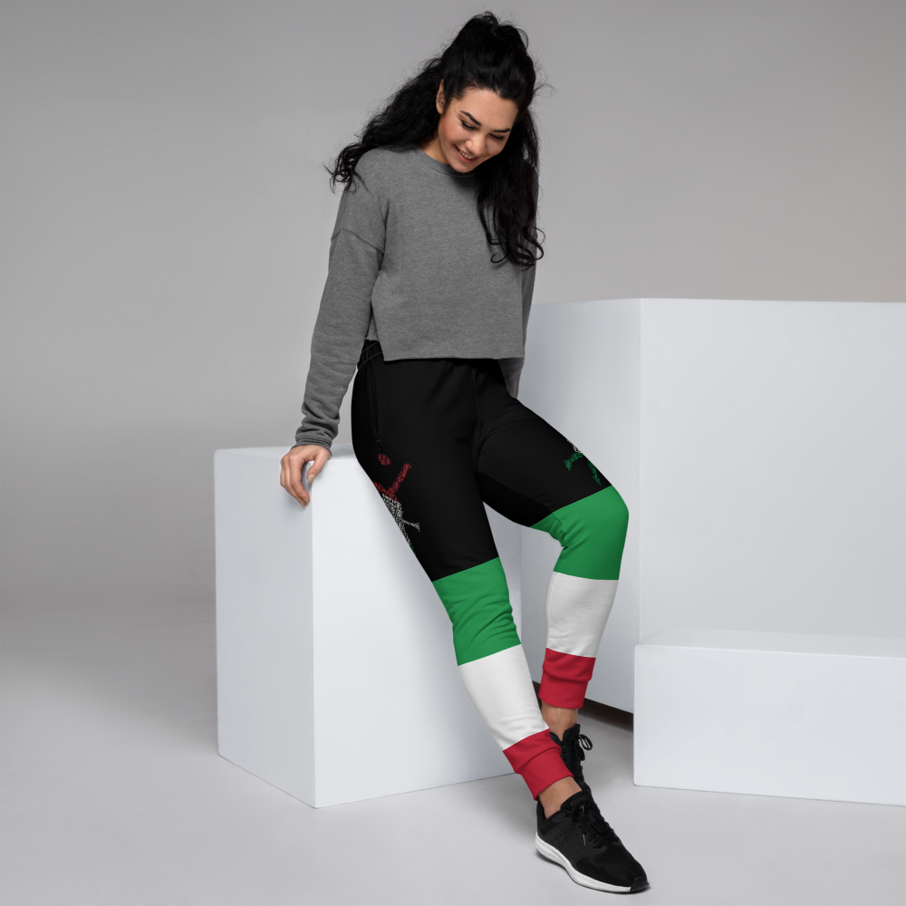 Black Jogger Pants With Designs Inspired By The National Flag Of Italy by Volleybragswag