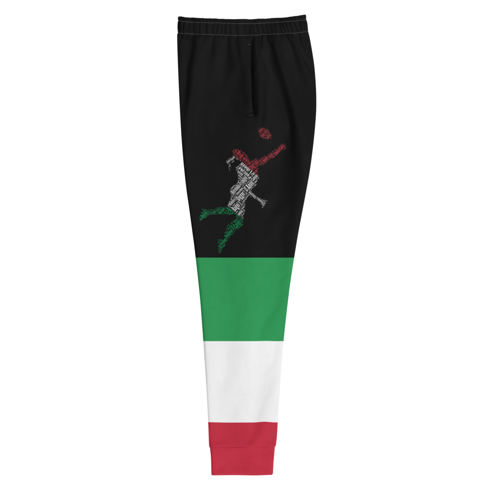 Black Jogger Pants For Women and Girls With Designs Inspired By The National Flag Of Italy