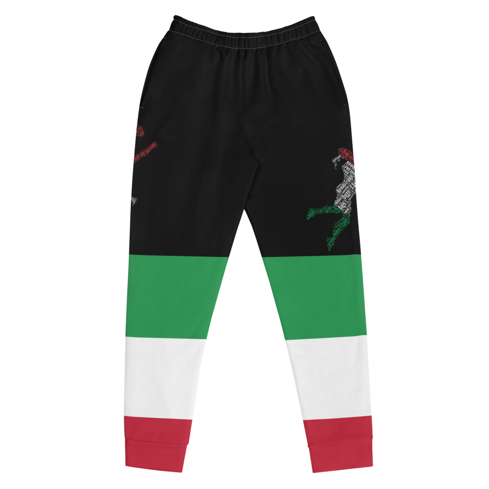 Black jogger pants inspired by the Flag of Italy by Volleybragswag.