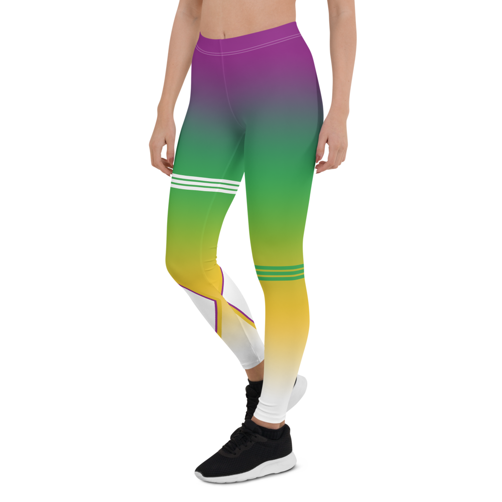 Volleybragswag Brazilian Volleyball Libero Flag Word Art Design is featured on volleyball tights that honor Brazilian liberos with all over purple, green, yellow white gradient print