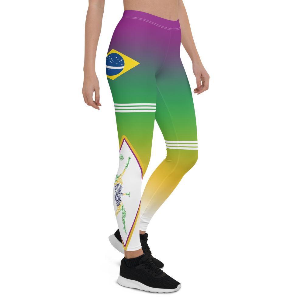 Brazil leggings purple green yellow white gradient triple stripe on one thigh and on the other knee.