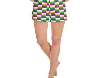 With the vibrant yellow, green and purple shades of the flag representing we took the same essence and integrated them into beautiful patterns on our Volleybragswag volleyball streetwear outfits.