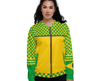 Bomber Jackets - Create A Cute Beach Volleyball Outfit With Brazil Flag Inspired Designs by Volleybragswag
