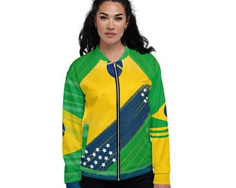 These Volleybragswag yellow and green bomber jackets inspired by the Brazilian Flag make great gift ideas for volleyball players