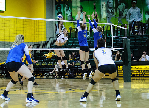 Volleyball Libero In Defense Wears #2 Jersey In Contrasting Color