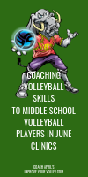 Coaching Volleyball Skills To Middle School Players in June Clinics