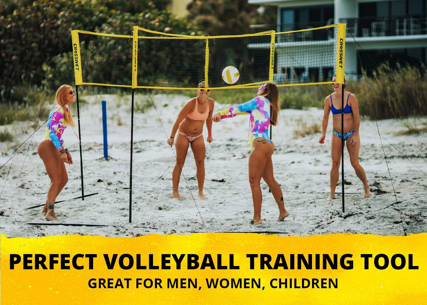 CROSSNET Four Square Volleyball Net & Game Set - Volleyball Set for Backyards - Yard Games for Kids and Adults Game Four Square Volleyball - Includes Poles, Carrying Backpack