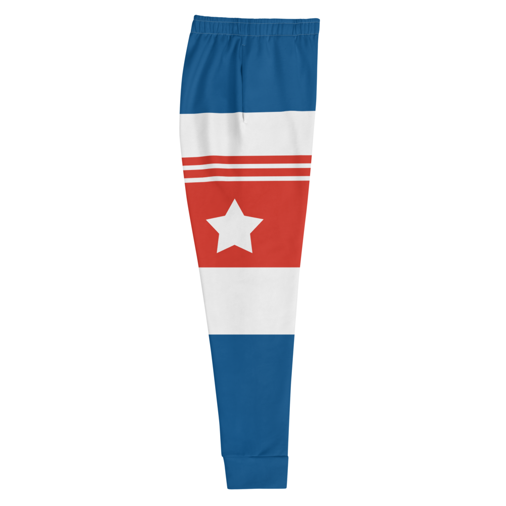 The Best Jogger Pants For Travel Are The Most Comfortable Sweatpants with Pockets with designs inspired by the Tokyo Olympics World flags..(Cuba flag inspired joggers)