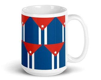 Country Flag Inspired Volleyball Mugs Make Great Gift Ideas (Volleyall Mug Designs inspired by the Cuban flag)