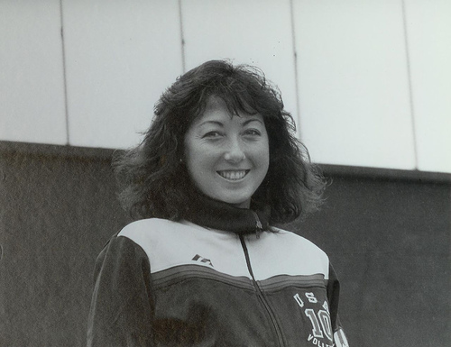 Olympic female volleyball players: 1984 Olympic silver medalist Debbie Green Vargas, the shortest player on the court.
