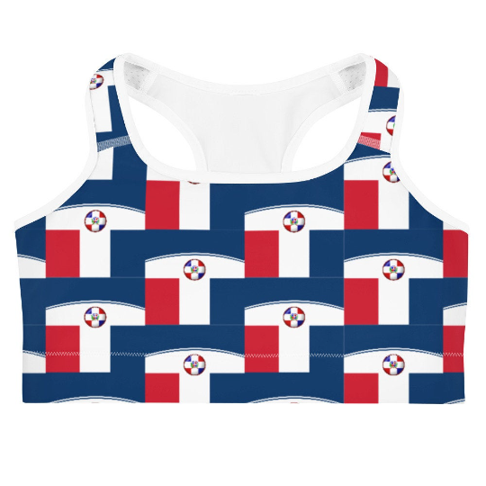 This gorgeous sports bra with colors inspired by the Dominican Republic flag is made from moisture-wicking material that stays dry during low and medium intensity workouts.