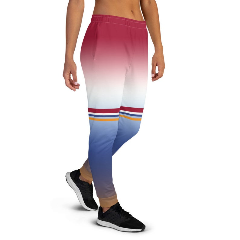 You can create cute outfits with sweatpants inspired by the Tokyo Olympics World flags...Click to shop these fun Dutch flag inspired joggers on the Volleybragswag Etsy shop now!