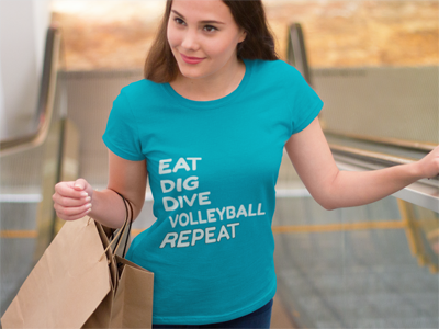 Volleyball Sayings: Eat, Dig, Dive, Volleyball, Repeat