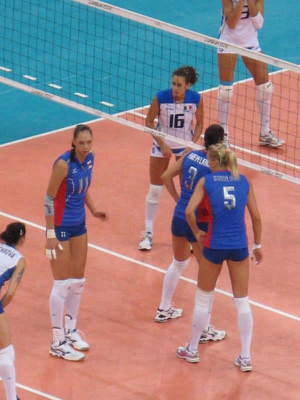 Ekaterina Gamova in the front row at the 2012 London Olympic Games against the italian National team. (Steve Hill)
