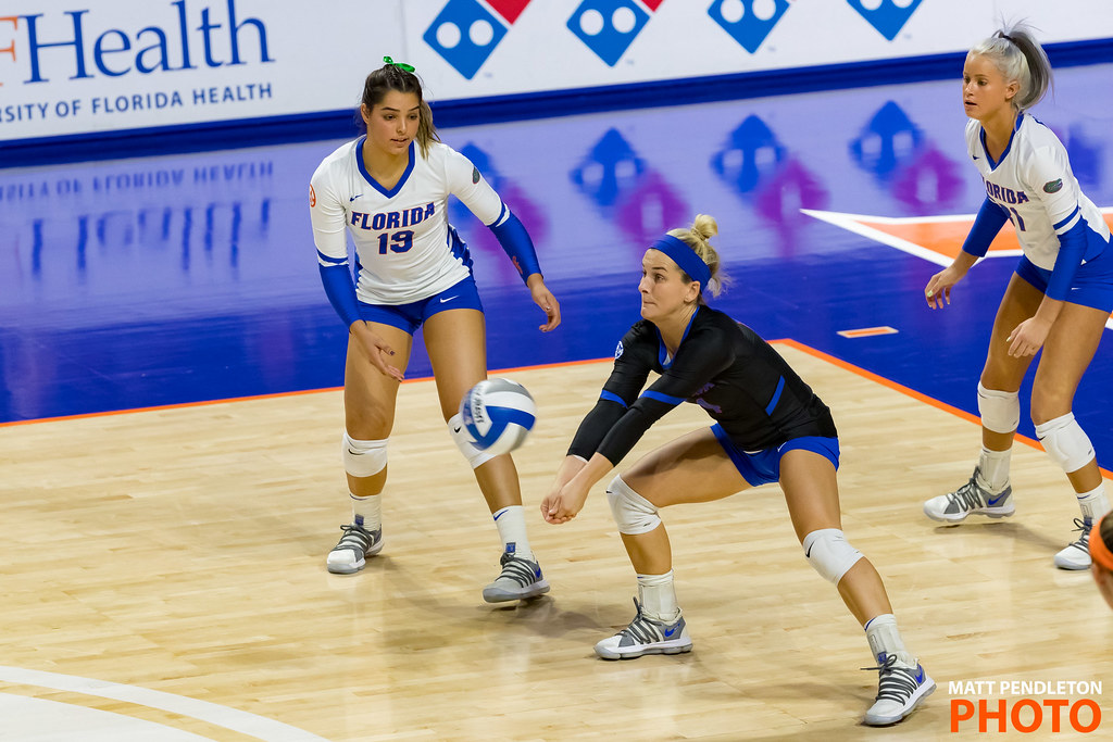 Volleyball liberos are back row players able to take a front row player's place to play defense when that player rotates to the back row. (Matt Pendleton photo)