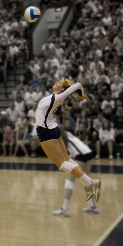 For players learning how to serve a volleyball, serving with a purpose is an important part of the processl: The left handed jump serve photo by Gallery Three