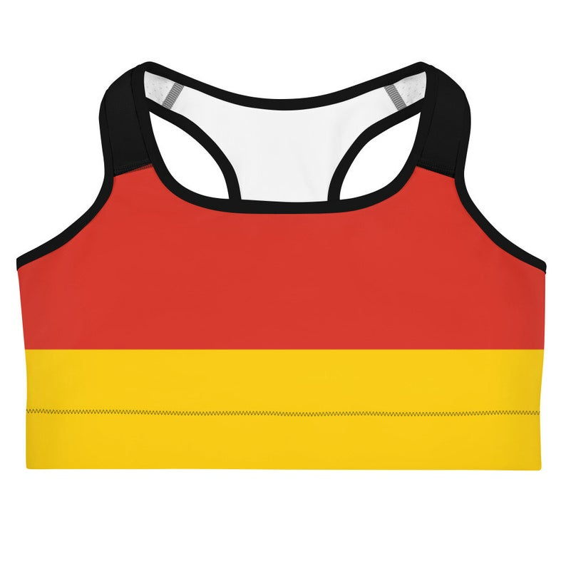 Sports bras - German flag inspired designs inspired by the Tokyp Olympics world flags of countries in the volleyball tournament.