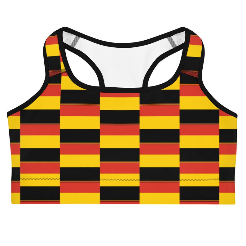 These gorgeous red sports bra with colors inspired by the flag of of Germany are made from moisture-wicking material that stays dry during low and medium intensity workouts.