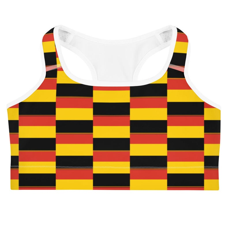 This gorgeous sports bra with colors inspired by the national flag of Germany is made from moisture-wicking material that stays dry during low and medium intensity workouts.