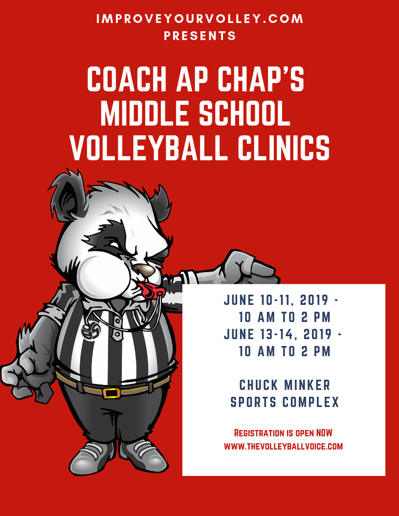 Click To Register I'm coaching volleyball skills at the Improve Your Volleyball Coach Ap Chap's 2019 Middle School Volleyball Clinics