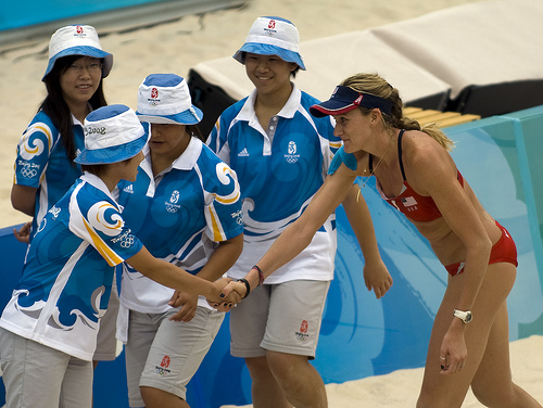 Kerri Walsh at the Beijing Olympics  (photo Craig Maccubbin)