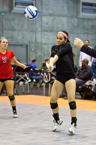 Forearm Pass A Volleyball: (Luomen) Try not to stand up when you have to pass the ball, let the ball come down.